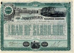 Wilmington and Northern Railroad Company signed by Medal of Honor recipient, Henry A. duPont as President - 1887