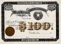 Will A. Watkin Music Company  - Dallas, Texas 1880's