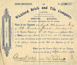 Wickford Brick and Title Company - England 1901