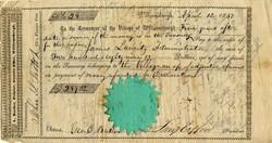 Village of Williamsburgh Note  - Brooklyn, New York 1850