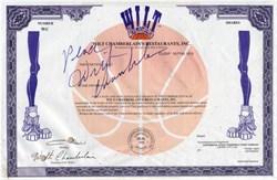 Wilt Chamberlain's Restaurants  hand signed by Wilt Chamberlain - Delaware