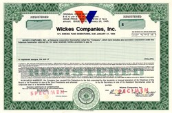Wickes Companies, Inc. (Famous Furniture Company) - 12% High Yield Bond - Delaware