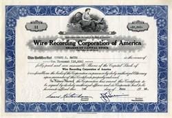 Wire Recording Corporation of America  - 1948