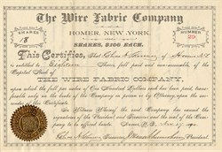 Wire Fabric Company - New York 1890