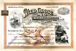 Wild Goose Mining and Trading Company signed by Charles D. Lane a founder of Nome, Alaska. - Nome, Alaska 1902