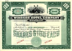 Windsor Hotel Company of Montreal - Quebec, Canada 1900