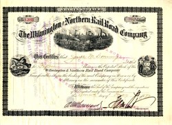 Wilmington and Northern Rail Road Company signed by Medal of Honor Winner H. A.  Dupont 1890's