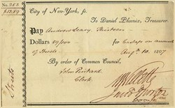 Check signed by Marinus Willett as New York City Mayor in 1807
