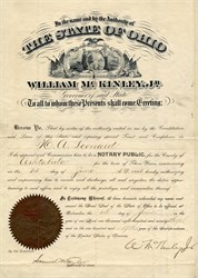 State of Ohio appointment signed by future U.S. President William McKinley, Jr. - Ohio 1893