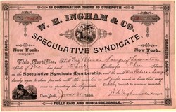 W.H. Ingham and Company (Speculative Syndicate ) - New York 1888