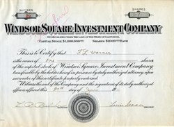 Windsor Square Investment Company - ( Early Los Angeles Real Estate Developer) -  California 1911