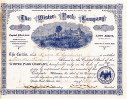 Winter Park Hotel Company  issued to Judge Lewis Lawrence - RARE - Florida 1885