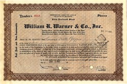 William R. Warner & Co., Inc. (Became Warner-Lambert, Now Pfizer Drug company)  signed by Gustavus Pfeiffer - Delaware 1940