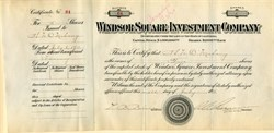 Windsor Square Investment Company - RARE - Issued to and signed by Henry O'Melveny co founder of the law firm, O'Melveny & Myers -  California 1911