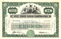 West Indies Sugar Corporation Stock Certificate - Assets Seized by Castro in 1959