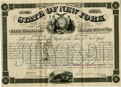 New York, Canal Department $50,400 Bond issued to with a Power of Attorney hand signed by William Waldorf Astor  (Waldorf-Astoria Hotel namesake)- 1890