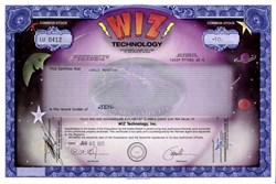 Wiz Technology, Inc. (Nice looking Certificate) - 1995