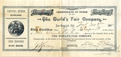World's Fair Company signed by L.A. Mayor, Henry Thomas Hazard - Los Angeles, California - 1891