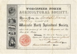 Worcester North Agricultural Society - Massachusetts 1855