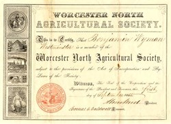 Worcester North Agricultural Society - Massachusetts 1853