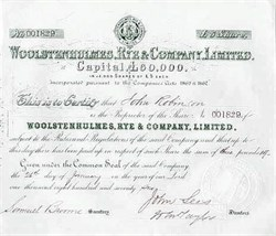 Woolstenhulmes Rye and Company Limited - England 1876