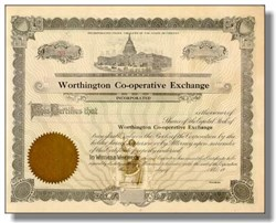 Worthington Cooperative Exchange Stock Certificate