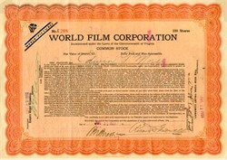 World Film Corporation 1919 - Famous Silent Film Company