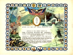 ' World War II Original Military Service Certificate - 1945 - Brilliant Colors