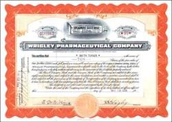 Wrigley Pharmaceutical Company Stock Certificate 1929 signed by W.W. Wrigley