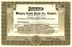 Wrigley Tooth Paste Company, Limited (Hand signed by W.W. Wrigley ) - Canada 1929