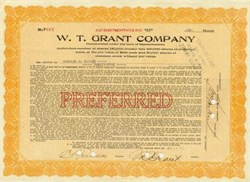 W.T. Grant Company Preferred Stock Certificate signed by Founder, William Thomas Grant - Massachusetts
