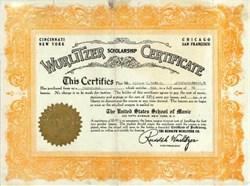 Wurlitzer Scholarship Certificate 1924