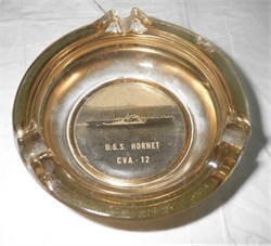 WWII Ashtray with photo image of U.S.S. Hornet CVA -12