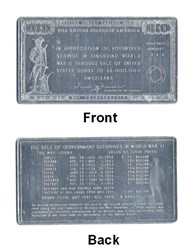 WWII US Savings Bond Appreciation Plaque (Aluminum) - 1945
