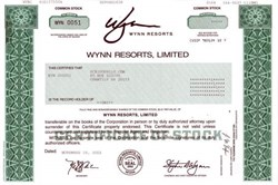 Wynn Resorts, Limited - Low  Serial Number IPO Certificate (Steve Wynn as Chairman and CEO) New Las Vegas Hotel - 2002