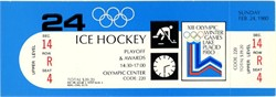 Miracle On Ice - XIII Olympic Winter Games Lake Placid Ice Hockey SCARCE unused Gold Medal Ceremony and Silver Medal Game Playoff Ticket - 1980