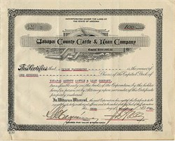Yavapai County Cattle & Loan Company- Arizona 1921