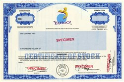 Yahoo Specimen Stock Certificate (Jerry Yang as President/CEO)
