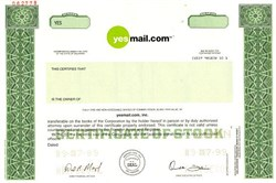 Yesmail.com, Inc. (IPO Stock Certificate)  - Delaware 1999