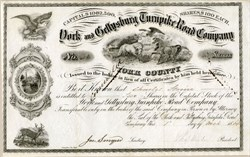 York and Gettysburg Turnpike Road Company (Issued  8 months after famous Civil War Battle) - 1864