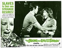 Young, the Evil and the Savage Lobby Card Starring Michael Rennie, Mark Damon, and Eleanor Brown - 1968