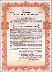 York Utilities Company 1923 - Portland, Maine - Old Trolley Line Gold Bond