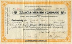 Zelaya Mining Company (gold mines in Tegucigalpa, in the Republic of Honduras)  signed by Rockwell Kent Sr -  New York 1887