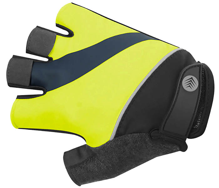 tempo cycle gloves top view yellow with tabs to make removing them easy