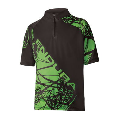kids bold printed bicycling jersey with back pockets and zipper front