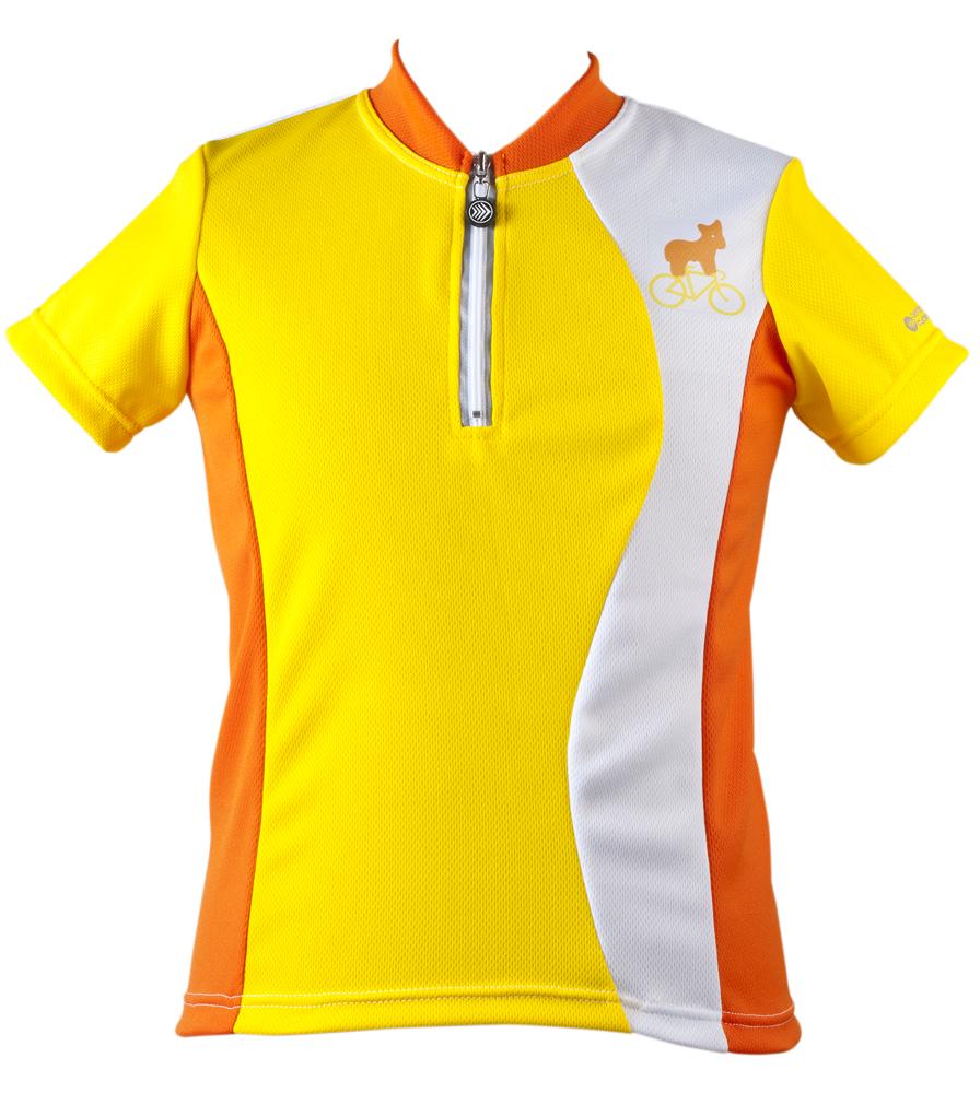 Youth  child cycling jersey Yellow