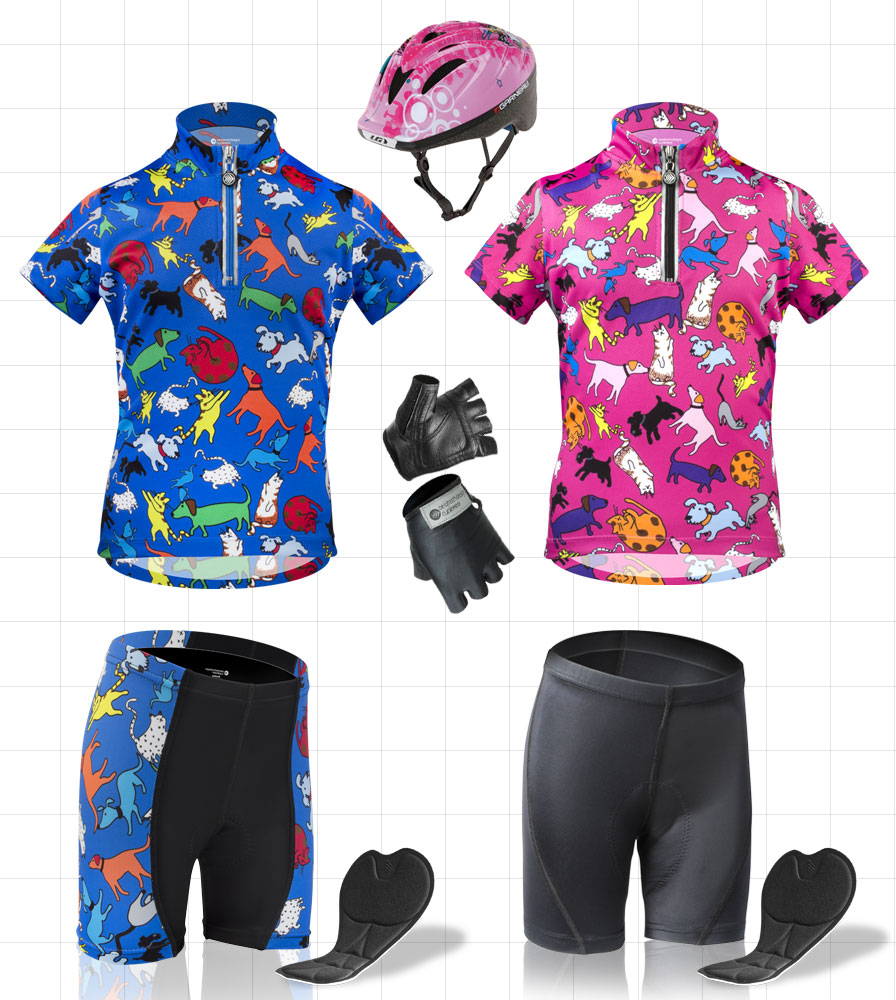 children's bicycling clothing and gear for kids padded bike shorts, jerseys for bicycling, helmets all with bright print from aero tech designs cycle wear