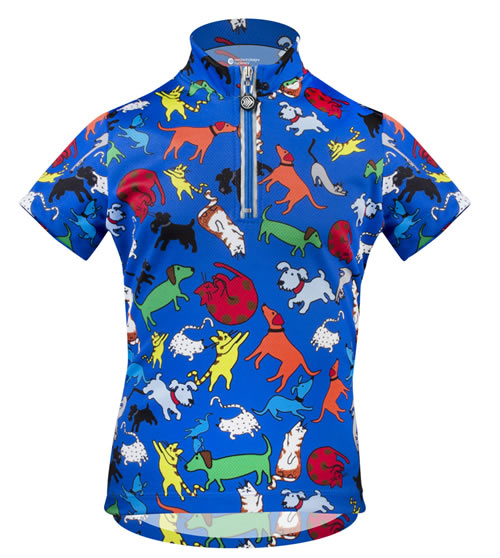 children kids bicycling jersey cool polyester wicks sweat, pockets and zipper with safety reflectives built in. Bright colorful raining cat and dog images imprinted