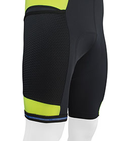 Silicone leg grippers keep bib shorts in place.