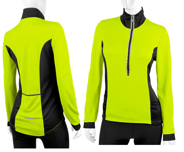 long sleeve cycling jersey in safety yellow